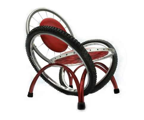 Funky recycled bike chair