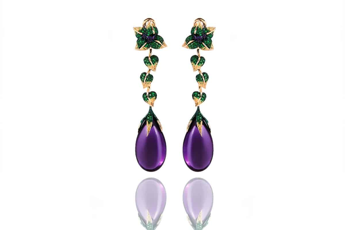 Emily H- Emilia Pendant Earrings Long Amethyst