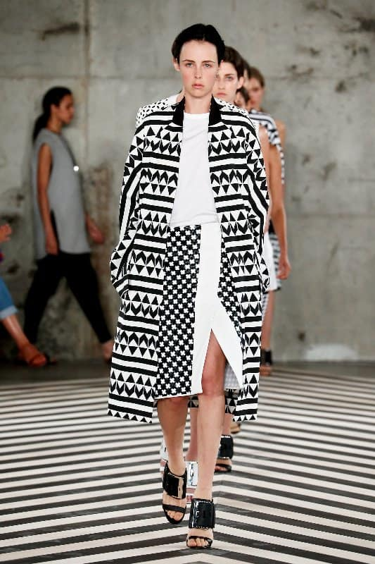 NEW YORK, NY - SEPTEMBER 08: A model walks the runway at the Edun fashion show during Mercedes-Benz Fashion Week Spring 2014 at Skylight Modern on September 8, 2013 in New York City. (Photo by Brian Ach/Getty Images)