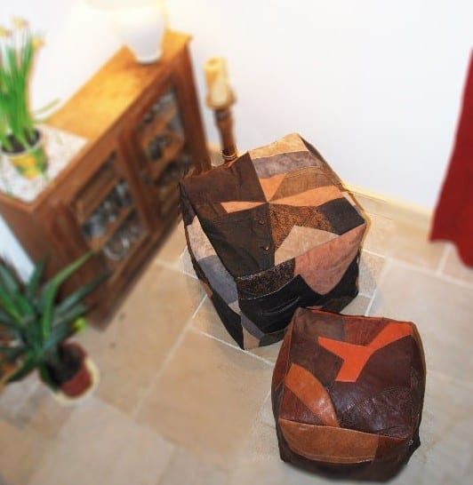 Rebecca Jane recycled Leather Pouf