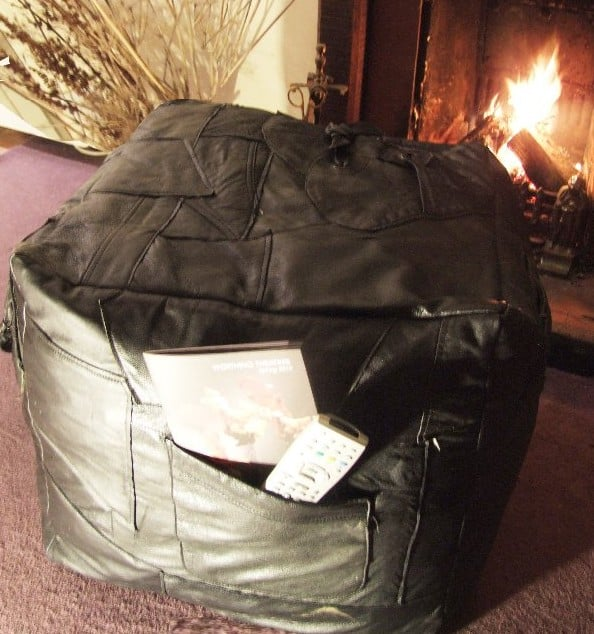 Rebecca jane Black Leather Pouf