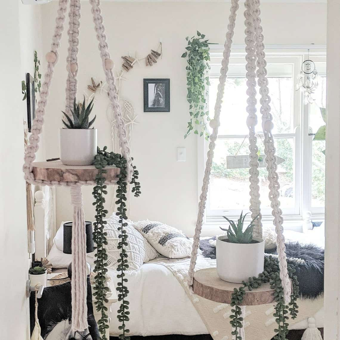 macrame decorating with plants