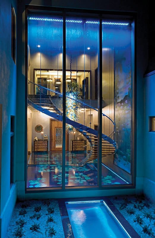 24 FT WATERWALL - GLASS STAIRCASE