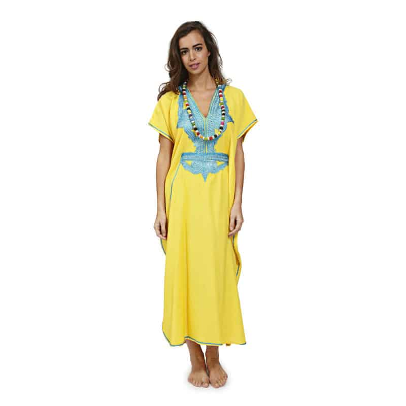 6_MA022H_INFINITY KAFTAN YELLOW WITH TURQUOISE_(Front)_HQ