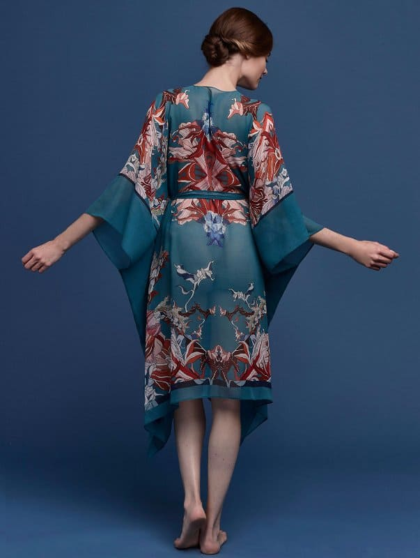 Meng-SS15-beach-wear-red-flower-print-silk-georgette-wrap-kaftan-forest