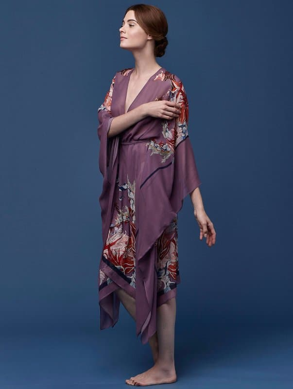 Meng-SS15-beach-wear-red-flower-print-silk-georgette-wrap-kaftan-purple