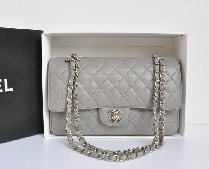 UK-Top-Chanel-2-55-A1112-Flap-Bag-Original-Caviar-Leather-Gray-3243
