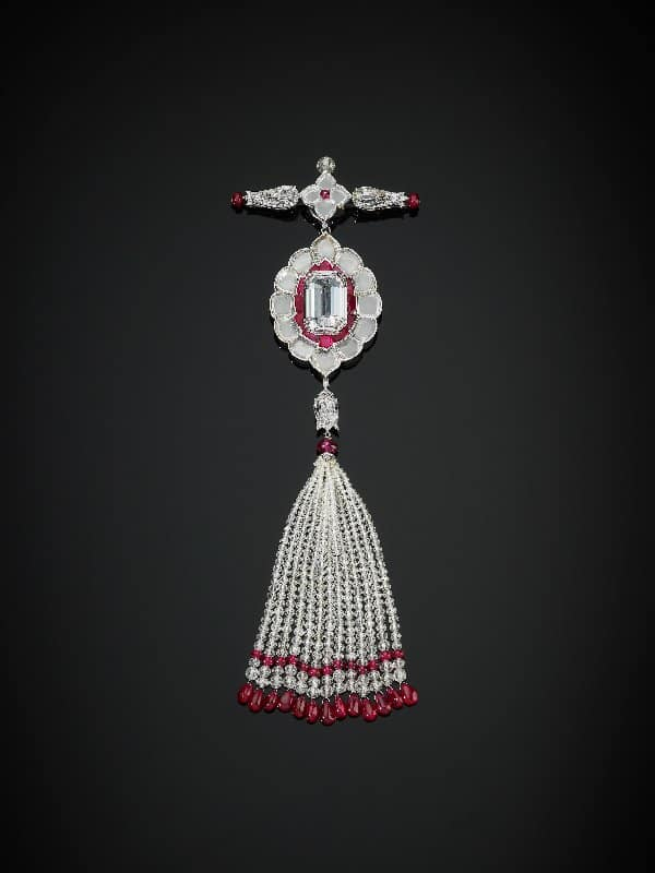 1. Pendant brooch set with diamonds and rubies, 2011, by Bhagat, Mumbai, India