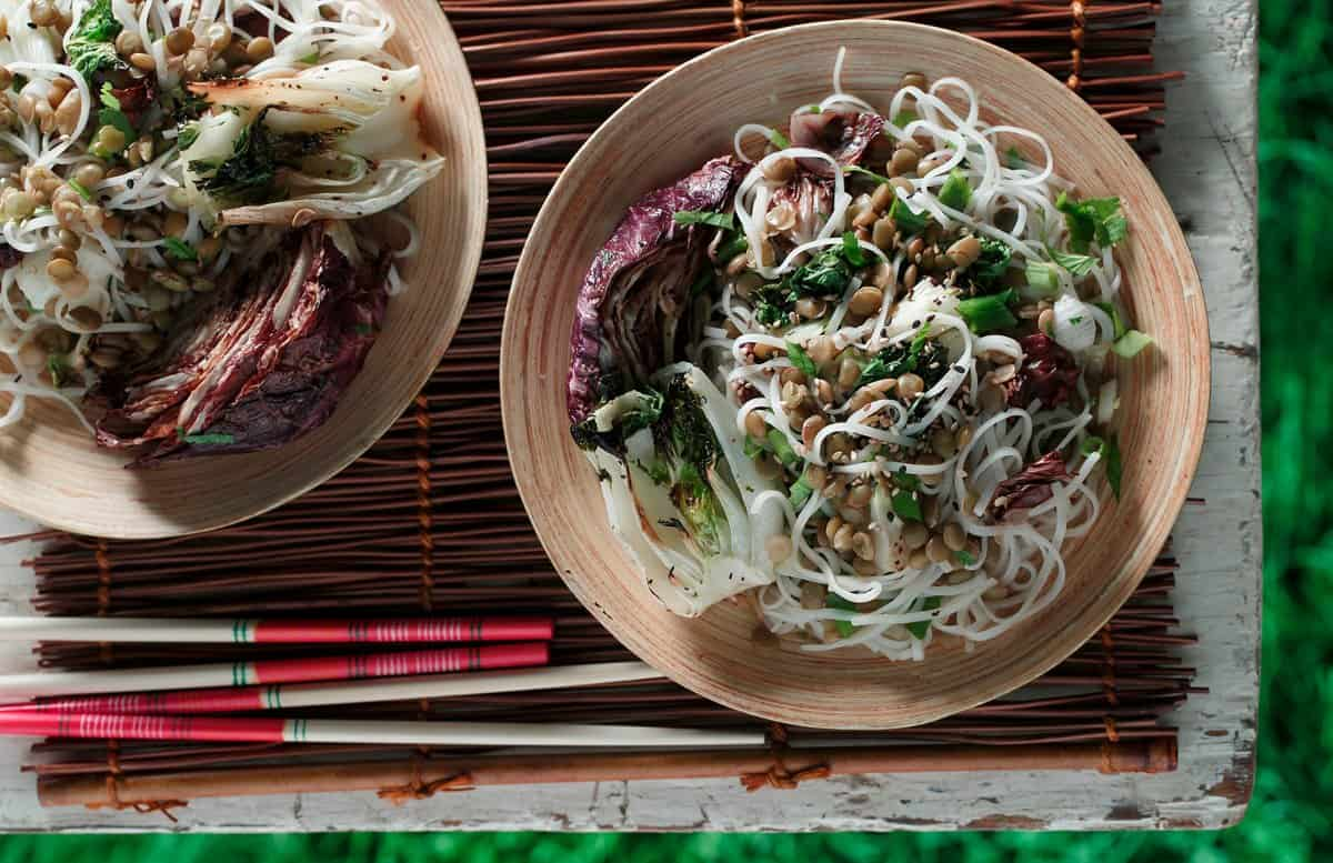 grilled_radicchio_bok_choy_salad_with_green_lentils_glass_noodles