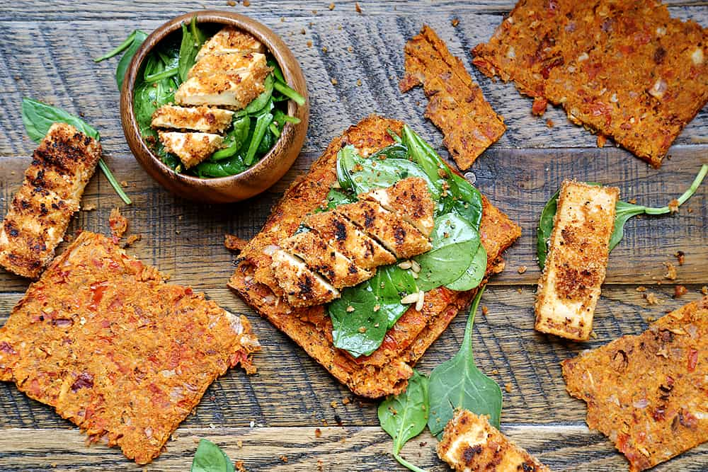 Grilled_Breaded_Tofu_Steaks_Spinach_Salad_Tomato_Flaxseed_Bread_Recipe_003