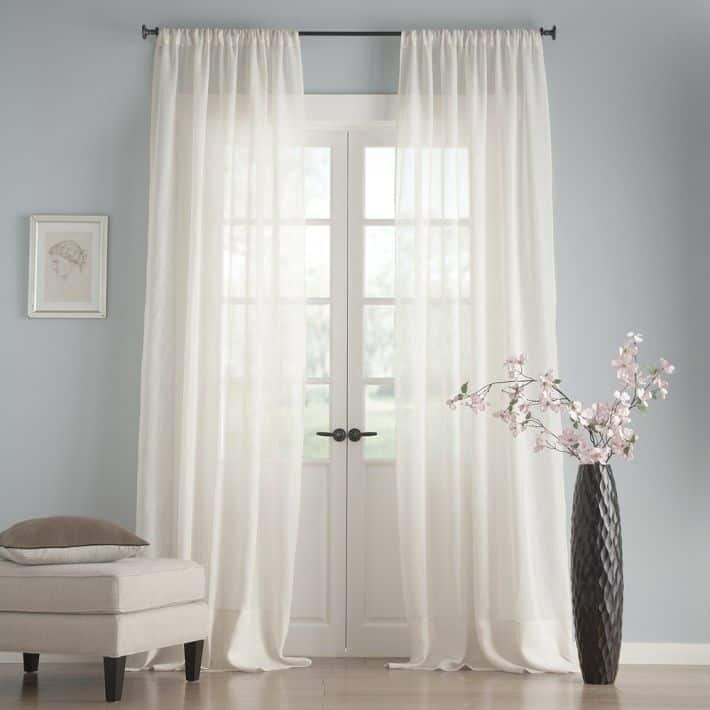 Muslin sheer curtain rod pocket
