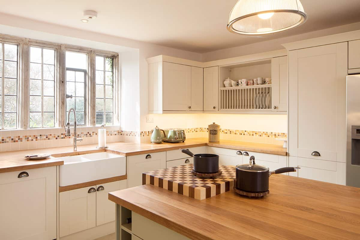 The traditional charm of the classic wooden kitchen ...