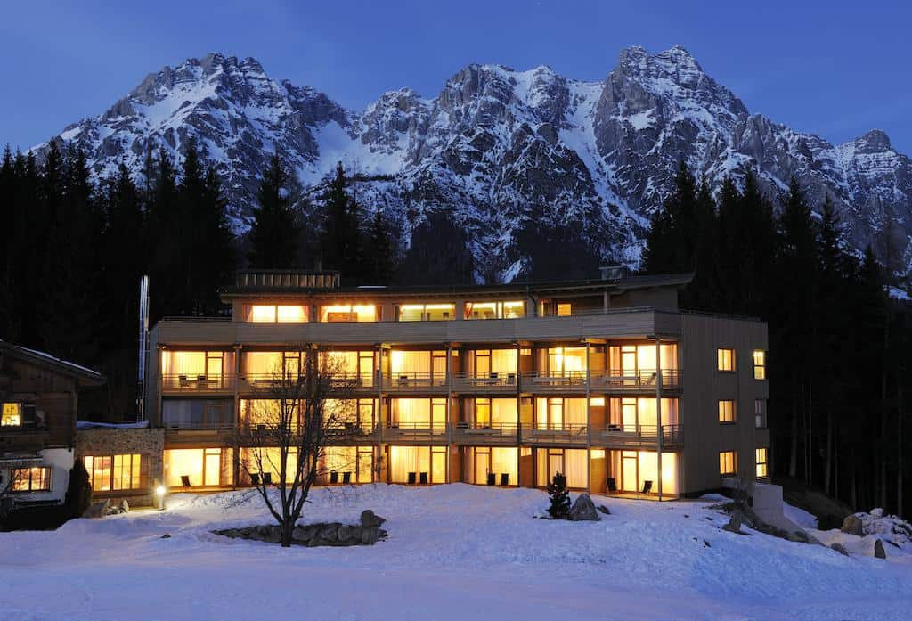 Skiing the sustainable slopes of hotel forsthofalm eluxe for Leogang design hotel