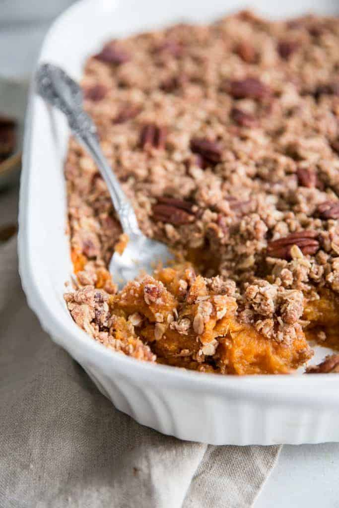 sweet potato casserole with crumble topping
